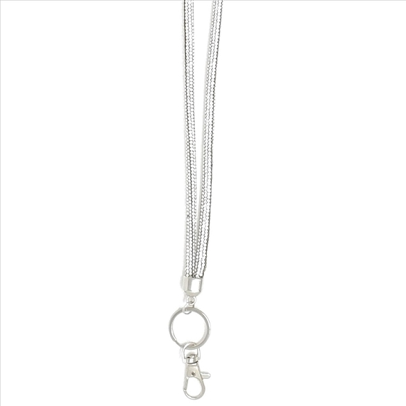 Awesome Round Crystal Lanyard - Silver
