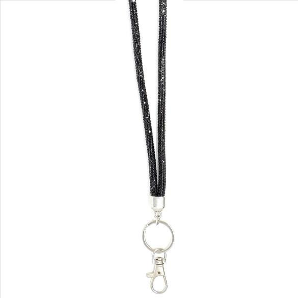 Round Bling Crystal Lanyard - Black