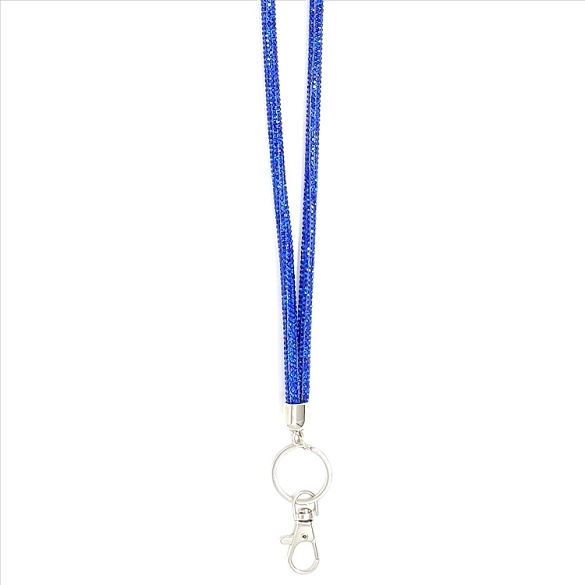 Round Bling Crystal Lanyard - Royal