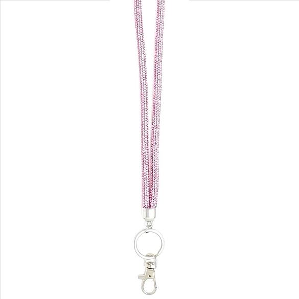 Awesome Round Crystal Lanyard - Dusty Rose