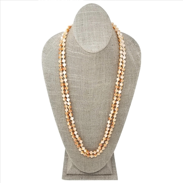 Faceted Necklace - Cream / Taupe Sparkle