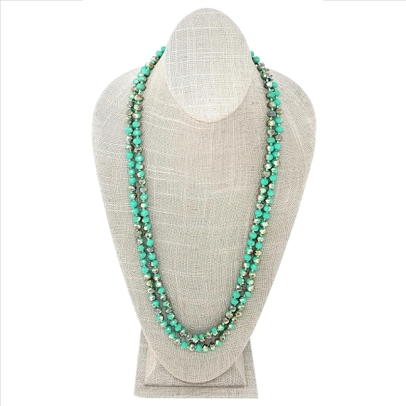 Faceted Necklace - Teal Sparkle
