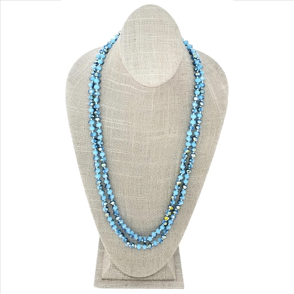 Faceted Necklace - Sky Blue Sparkle