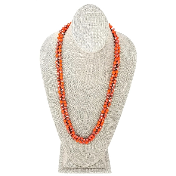 Faceted Necklace - Orange / Ruby Sparkle
