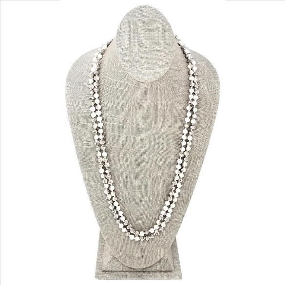 Faceted Necklace - Cream / Silver Sparkle