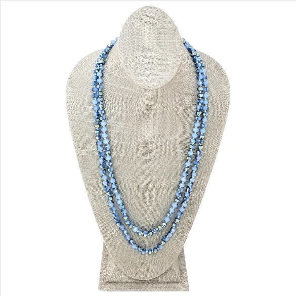 Faceted Necklace - Dusty Blue Sparkle