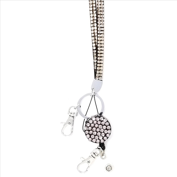 Bling Breakaway Lanyard - Light Grey