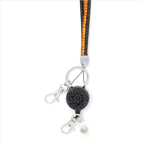 Bling Breakaway Lanyard - Orange and Black