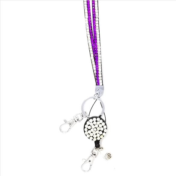 Bling Breakaway Lanyard - Purple and Silver