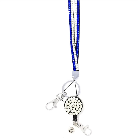 Bling Breakaway Lanyard - Royal Blue and Silver
