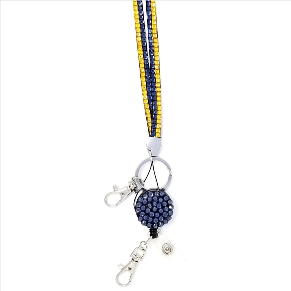 Bling Breakaway Lanyard - Gold / Teal Blue