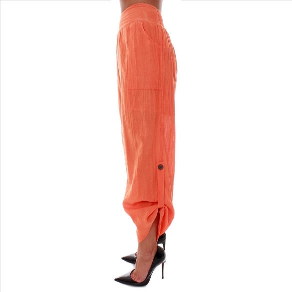 Chic Button Up Pants with Pockets - Orange