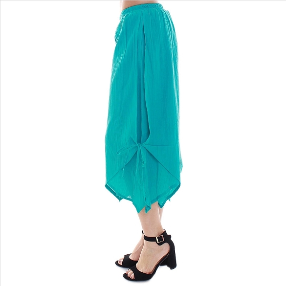 Chic Side-Tie Capris - Teal