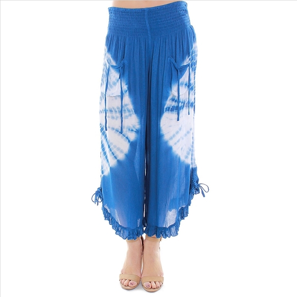 Amazing Ruffle Edged Tie Dye Capris - Blue