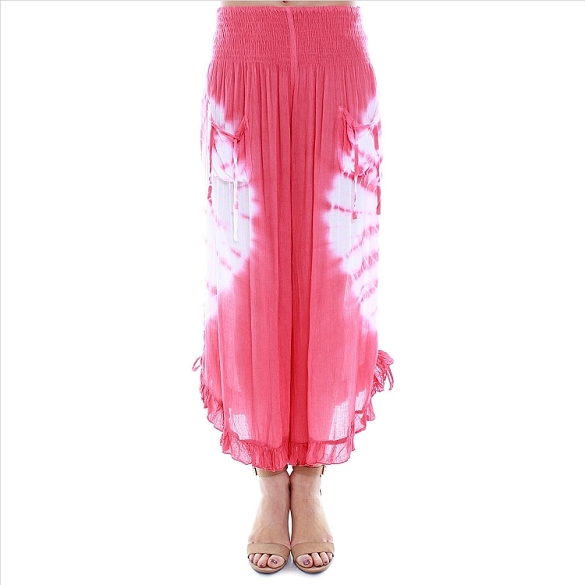 Amazing Ruffle Edged Tie Dye Capris - Coral