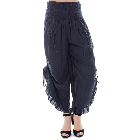 Ruffle Edged Capris - Black