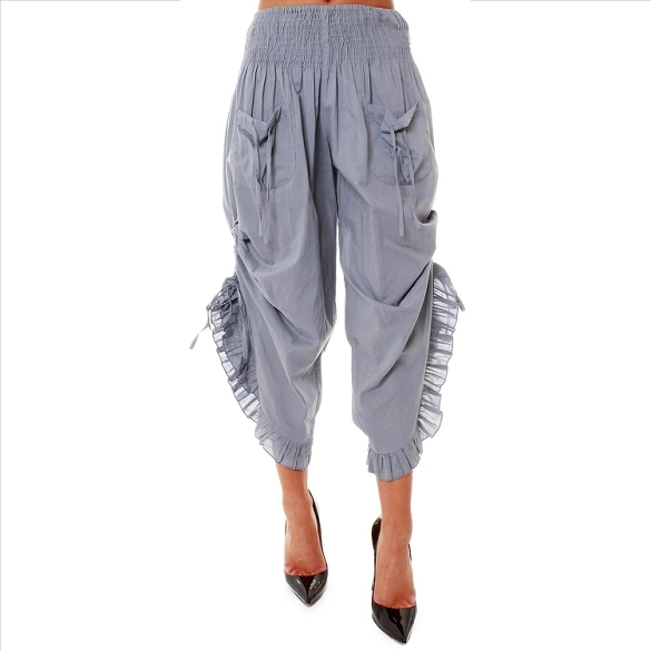 Ruffle Edged Capris - Grey
