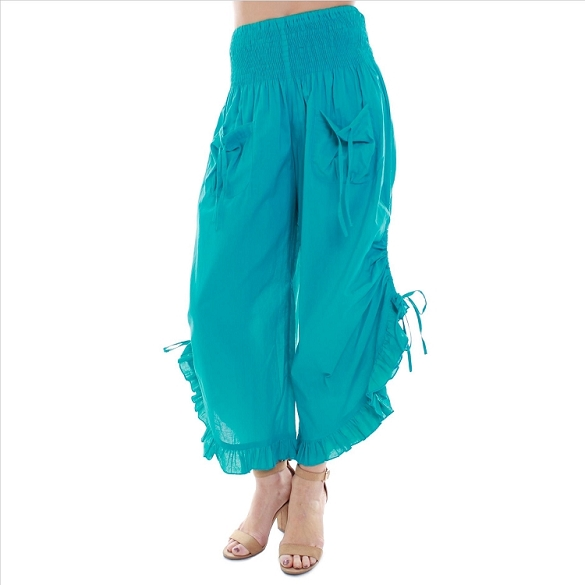 Ruffle Edged Capris - Teal