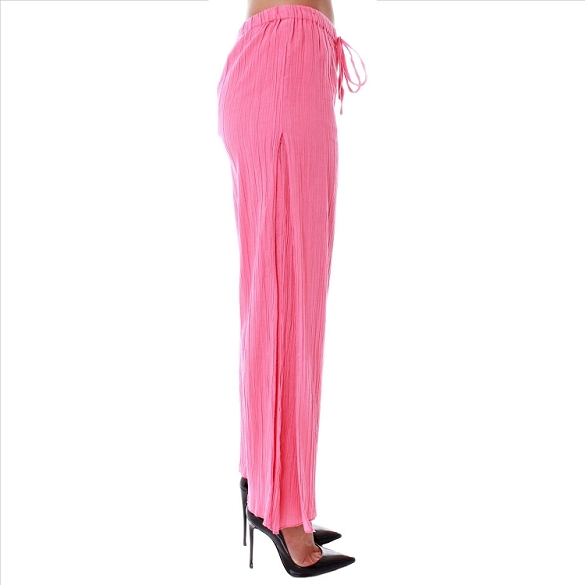 Drawstring Waist Side Pleat Pants - Coral