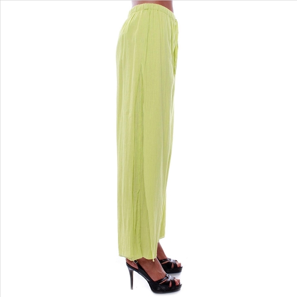 Drawstring Waist Side Pleat Pants - Lime