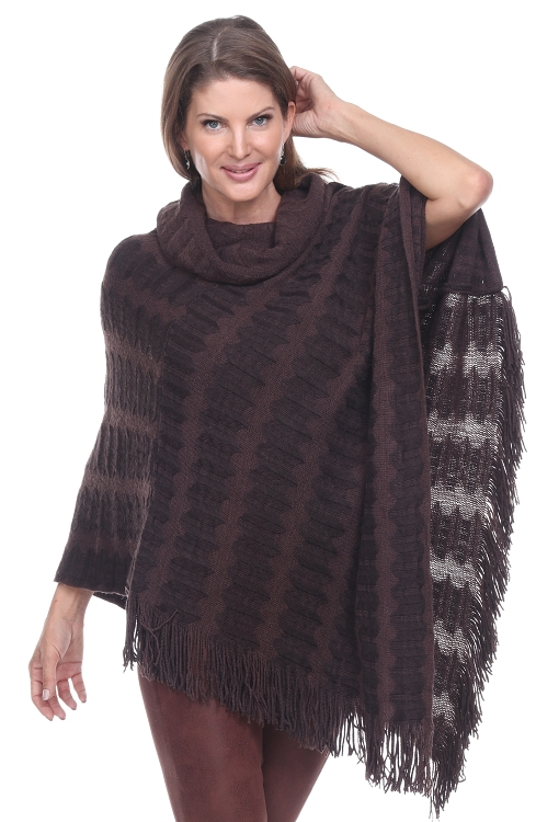 Textured Turtleneck Poncho - Brown