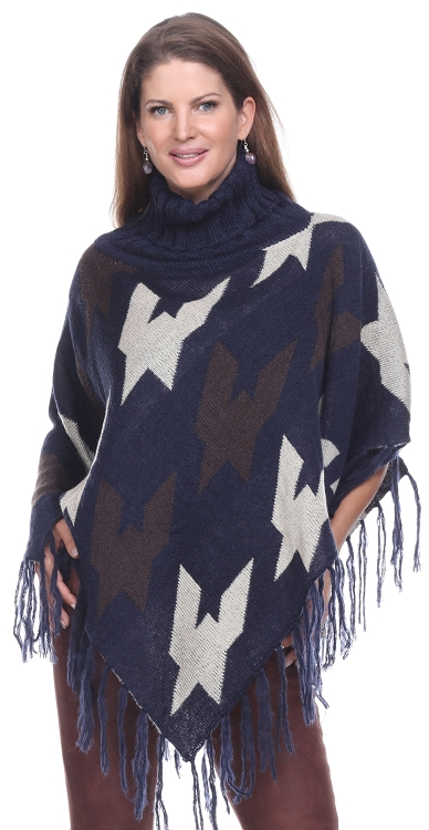 Fringe Turtleneck Poncho - Navy
