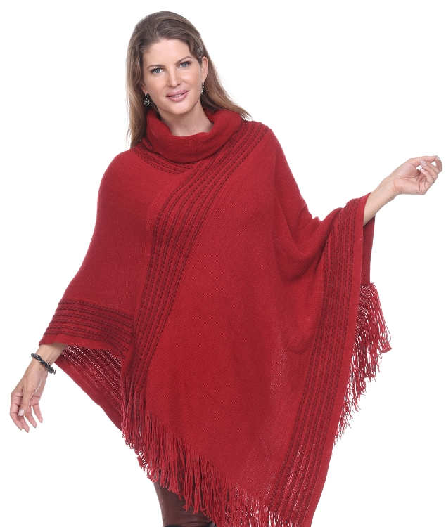 Soft, Roomy and Cozy Poncho - Wine