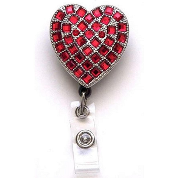 Red Heart Bling Retractable Badge Reel