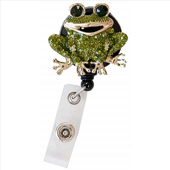 Cute Frog Bling Retractable Badge Reel