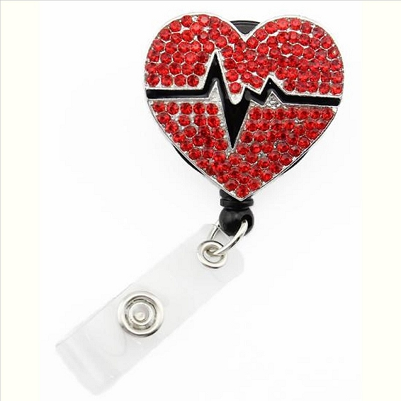 3 Pack Heartbeat Bling Retractable Badge Reel