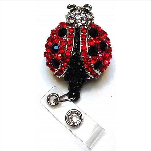 Lady Bug Bling Retractable Badge Reel