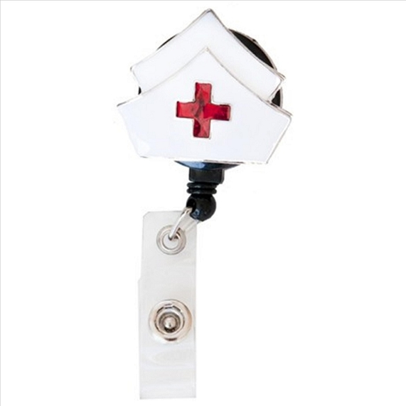 Red Cross Bling Retractable Badge Reel