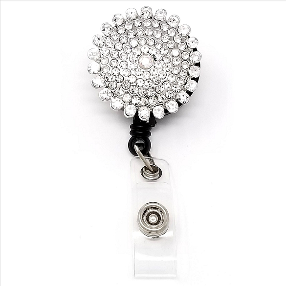 Round Bling Retractable Badge Reel