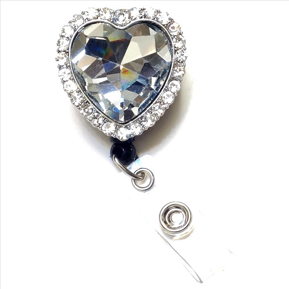 Crystal Heart Bling Retractable Badge Reel