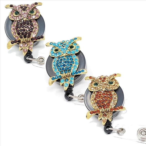 Assorted Owl Bling Retractable Badge Reel