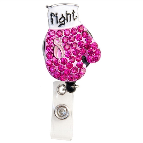 Fight Cancer Bling Retractable Badge Reel