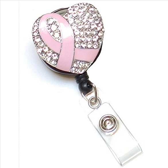 Cancer Awareness Heart Retractable Badge Reel