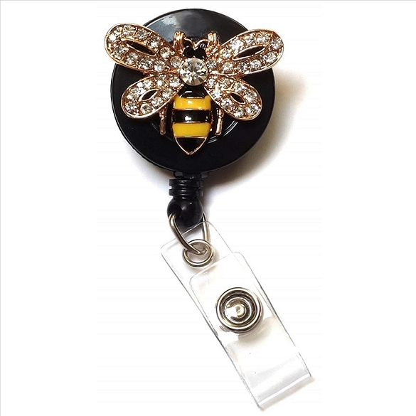 Bumble Bee Bling Retractable Badge Reel