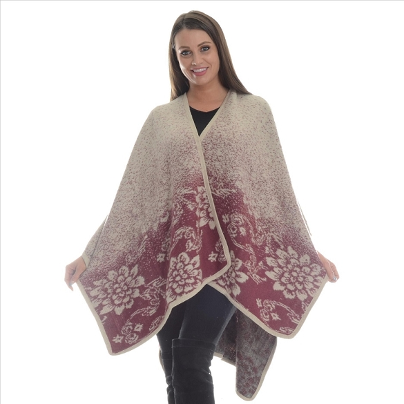 Ombre Flower Wrap - Burgundy / Natural
