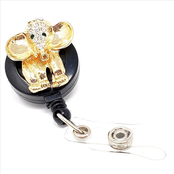 Crystal Elephant Bling Retractable Badge Reel