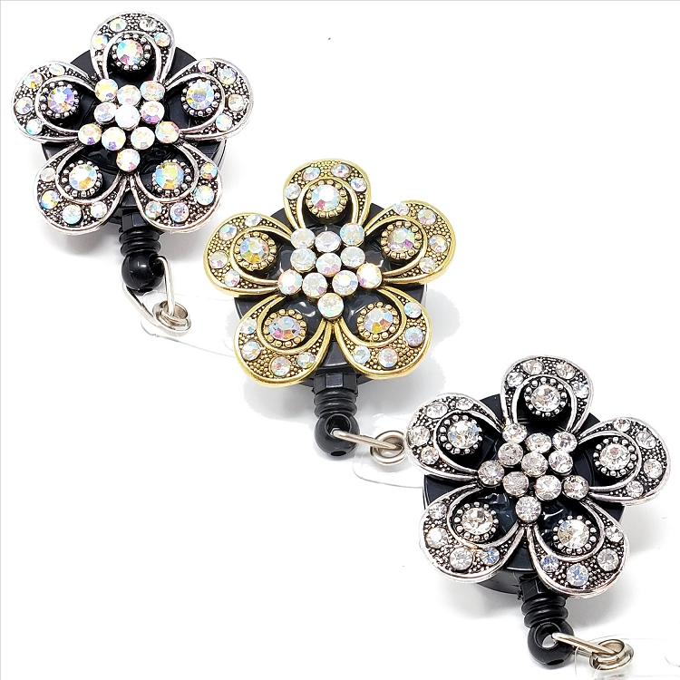 Assorted Flower Bling Retractable Badge Reel