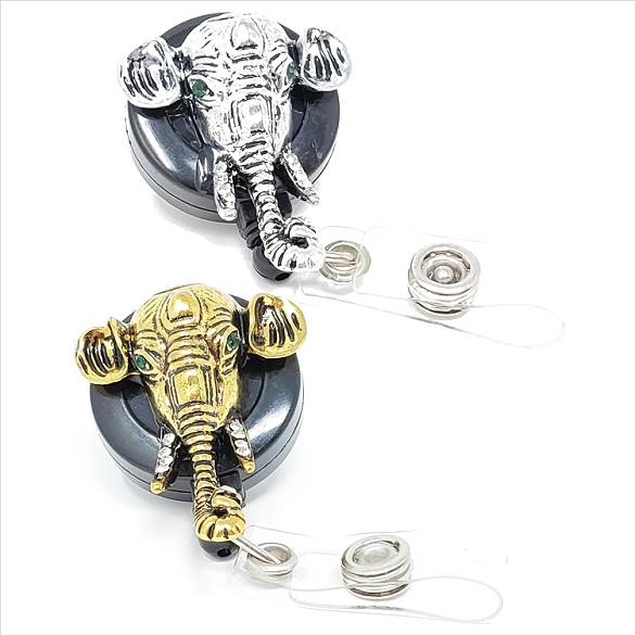 Assorted Elephant Bling Retractable Badge Reel