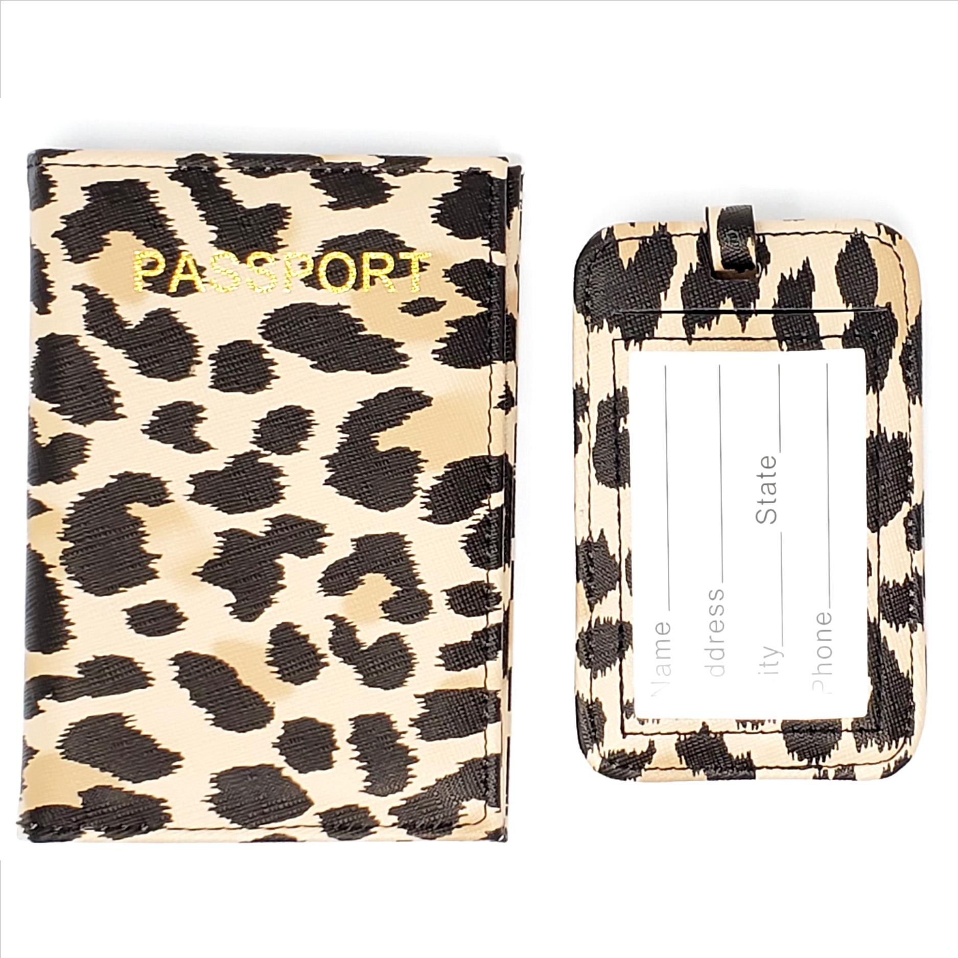 Leopard Print Passport Cover and Luggage Tag