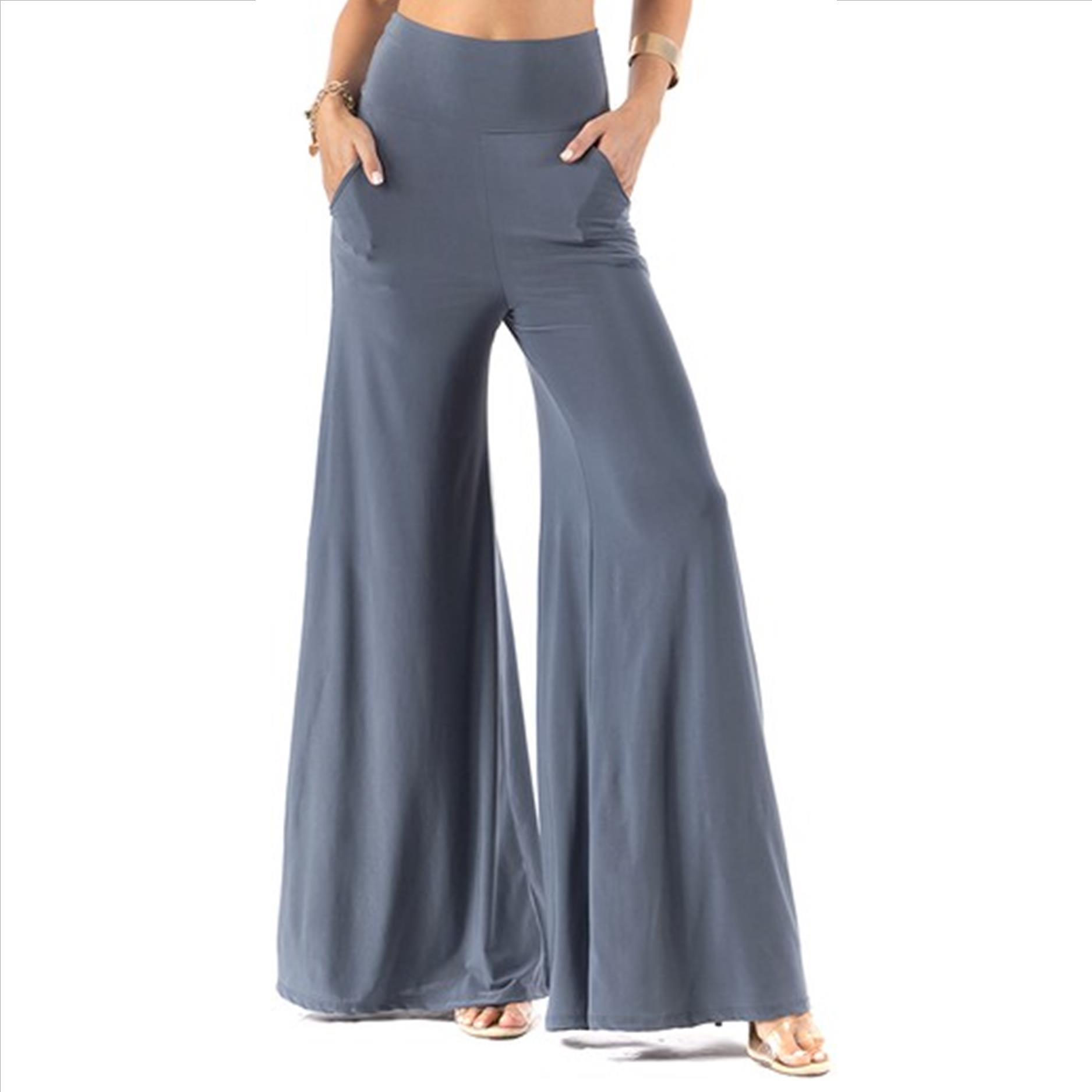 Plus Size Palazzo Pants with Pockets - Slate Grey
