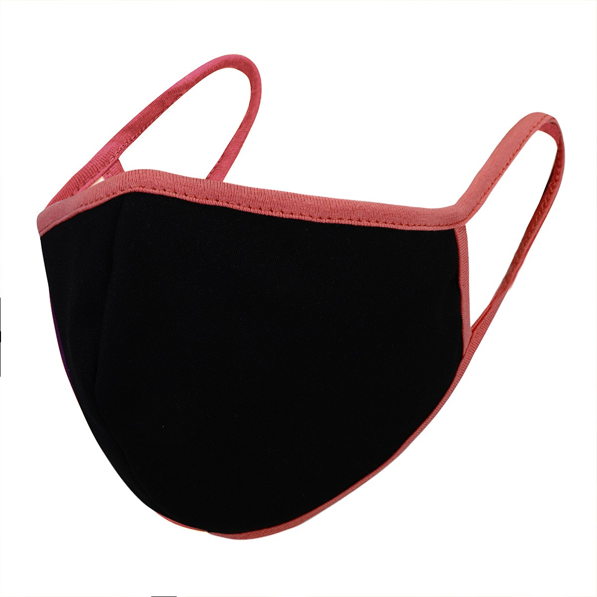 Black / Coral Solid Filter Washable and Reusable Face Mask