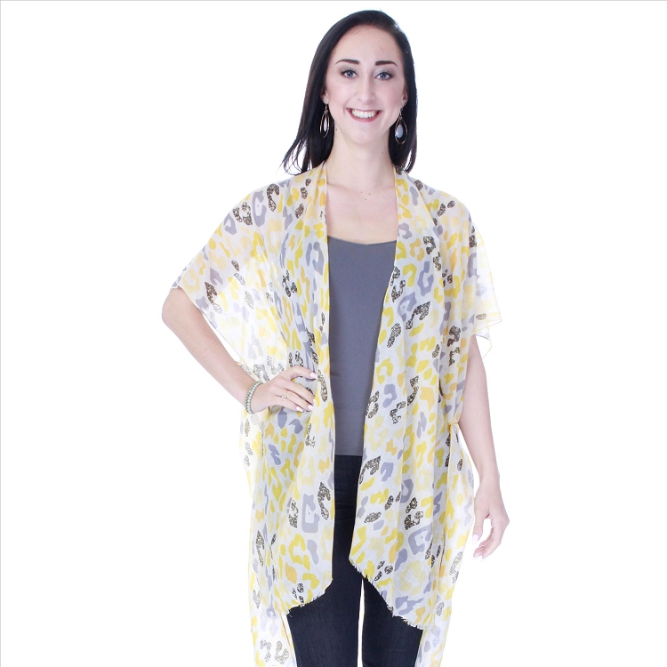 Sparkling Abstract Print Kimono - Yellow
