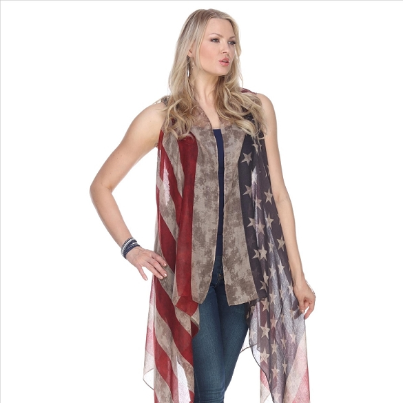 6 Pack Faded American Flag Vest