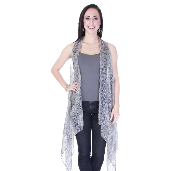 Grey and Black Snake Print Vest