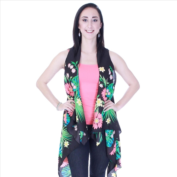 Beautiful Floral Print Vest - Black