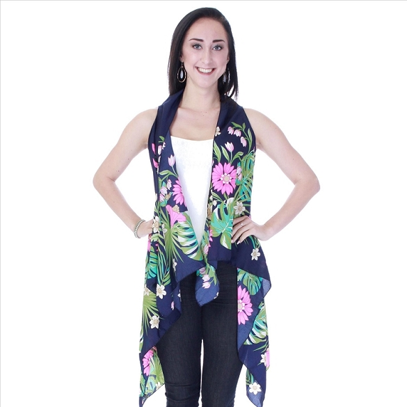 Beautiful Floral Print Vest - Navy